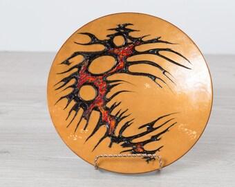 Anita Trottier Enamel Plate Art - Signed by Canadian Artist, circa 1970's - Decorative Mid Century Modern Artist Plate - Copper + Red Design
