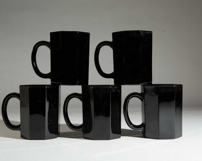 1980's Black Octagon Mugs - 10oz Vintage Mid Century Modern Geometric Glass Cups - Made in France - Halloween Decor -French Arcoroc Octime