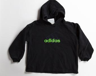 Boys Vintage Adidas Hoodie - 80's/90's Toddler Black Athletic Sportswear Pullover Jumper Sweater