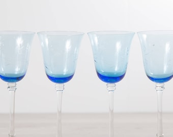 4 Blue Wine Glasses - Large Vintage Floral Etched Stemware - Barware Glassware