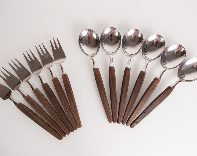Lundtofte of Denmark Rosewood Spoons and Forks - Vintage Mid Century Modern Danish Tableware Decor