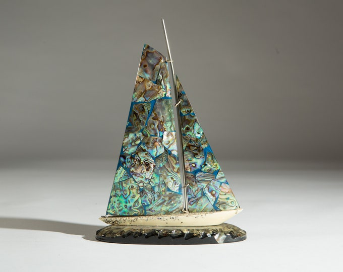 Paua Shell Sailboat - Vintage Spinnaker Yacht - Sailing Boat Ornament - Nautical Theme - Gift for Dad - Gift for Him