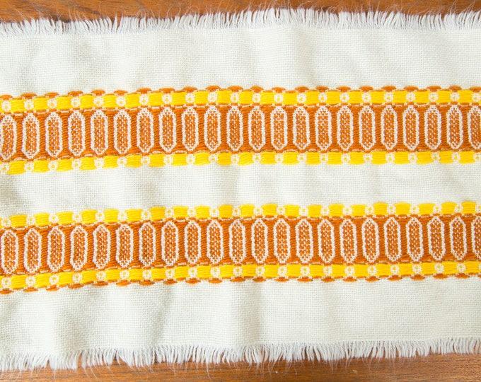 Vintage Table Runner - 1960's Mid Century Modern Orange Striped Danish Scandinavian Style Textured Fabric Folk Fringed Geometric Tapestry