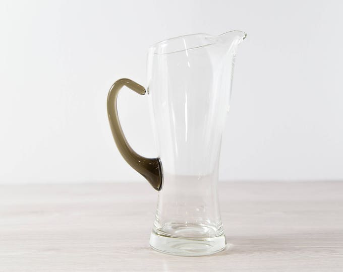 Vintage Cocktail Pitcher / Vintage Clear with Smokey Glass Handle Jug / 1960's Barware / Vintage Mid Century Modern Danish Design Carafe
