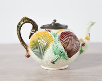 Antique 1800's Teapot / Majolica Ceramic Seashell Teapot with Pewter Hinged Lid / Vintage Collectible Hand Painted Decorative Earthenware