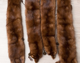 Mink Fur Stole - 4 Clip on Mink Pelts and Fur Tail - Canadian Brown Fur life-like Mink with Face Taxidermy