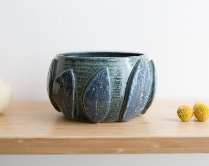 Ceramic Planter with Leaves - Blue Coloured Round Studio Pottery Plant Pot - Boho Modern Succulent, Herb or Cactus Pot