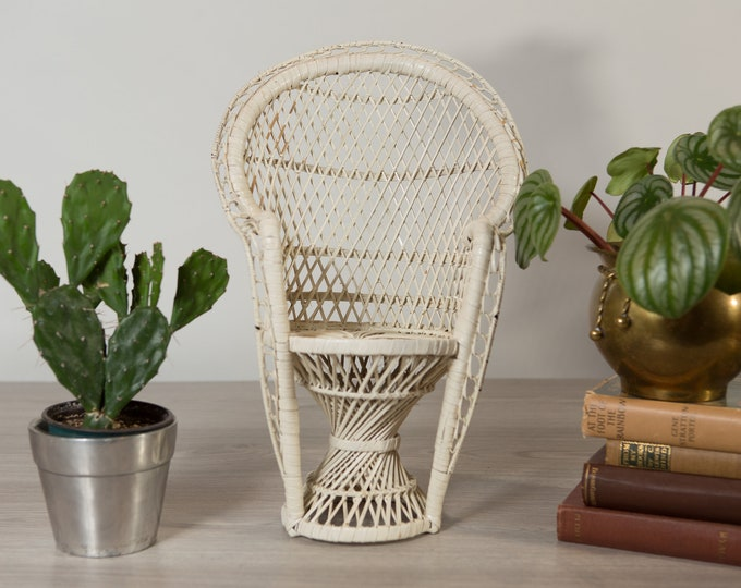 Woven White Wicker Chair - Vintage Miniature Rattan Plant Pot Holder - Hand Woven Rustic Boho Modern Decor - Mid Century Modern  Minimalist