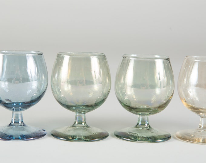 6 Vintage Apéritif Glasses - Small Iridescent Shot Glasses in Blue, Green, Amber