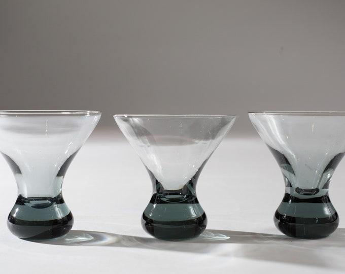 Set of 3 Vintage Smoke Gray Apéritif Glasses with solid Bubble base (MCM Mad Men 1960's Martini Bubble Style Liquor Barware)