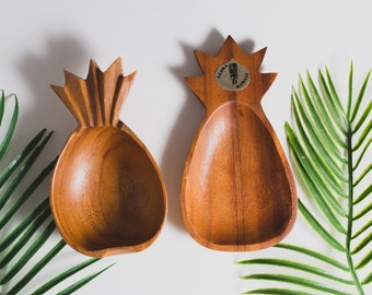 Wood Pineapple Salad Bowls - Pair Vintage Solid Exotic Monkeypod Food Safe Serving Appetizer Dishes - Hand Carved Tropical Hawaiian Aloha
