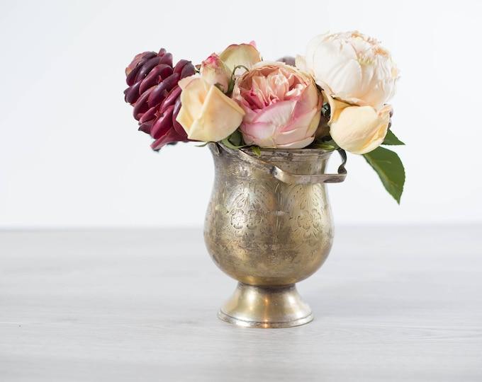 Vintage Silver Planter with Flower Arrangement / Vintage Silver Plated Etched Ice Bucket Basket with Fake Flower Arrangement