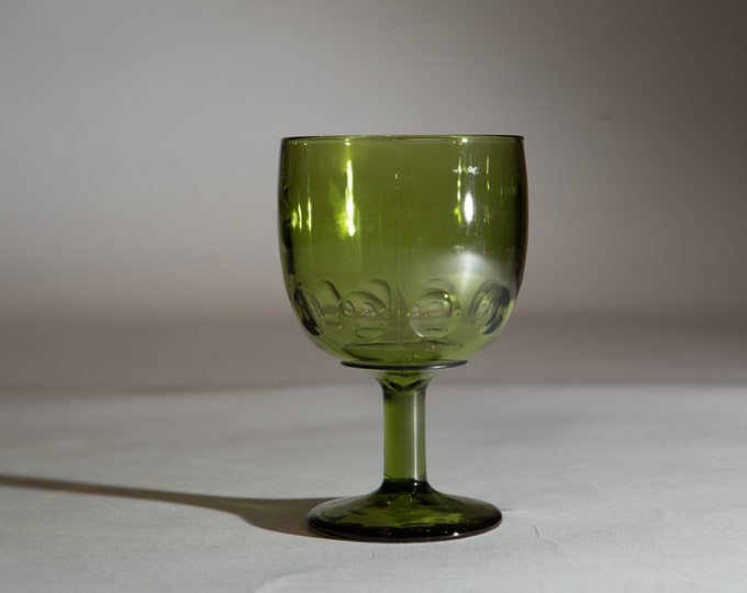Vintage Green Goblets - 14oz Felton Vintage Water Glass - Thumbprint Cocktail Wine Retro Barware / Glassware / Halloween Stemware