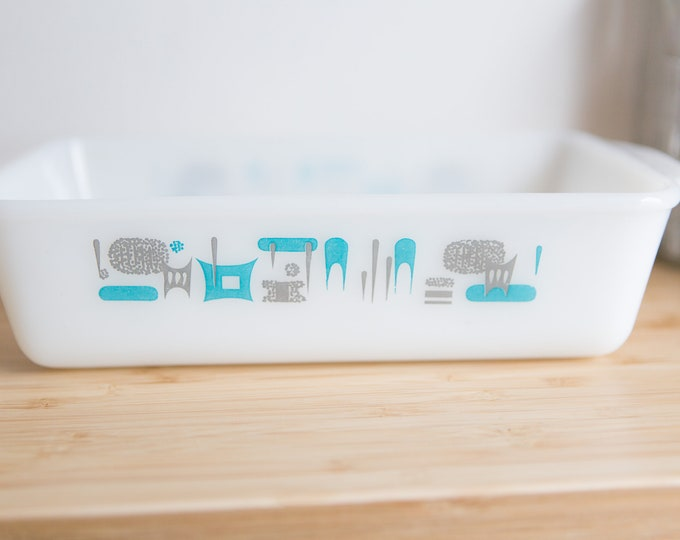 Blue Heaven Milk Glass Loaf Pan - Atomic Modern Design Dish - Mid Century Modern Kitchen - Gift for Mom - Mother's Day Gift