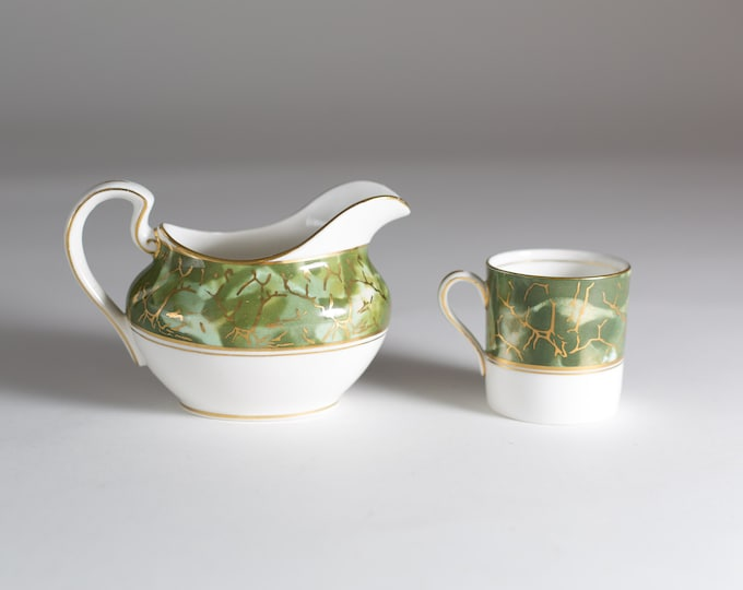 Aynsley Onyx Gravy Boat and Demitasse Cup - Set of Green and Gold Fine English Bone China - Lush Green Leafy Marbled Jungle Pattern