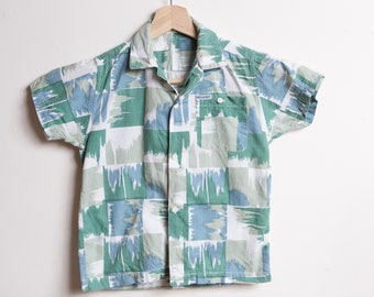 Vintage Kids Shirt - 70's Toddler 4-5T Short Sleeve Striped Casual Abstract Shirt
