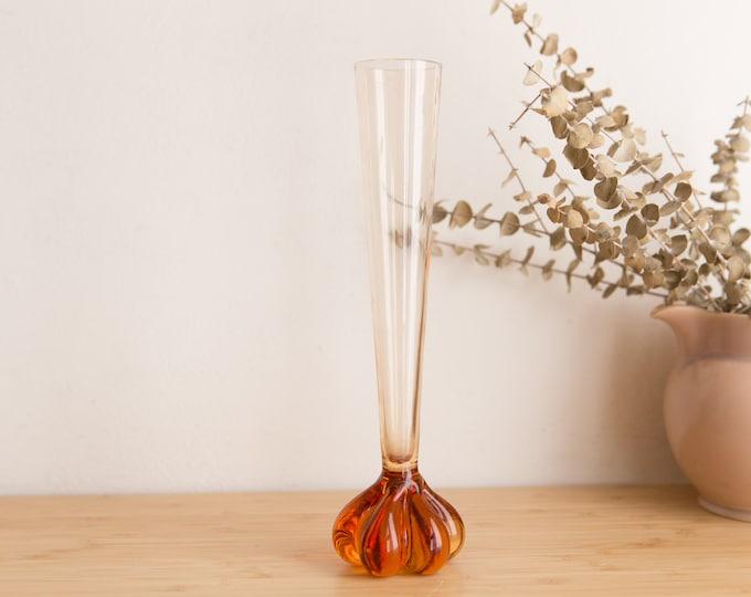 Vintage Pink Glass Vase - 1930s Depression Glass Style Home Decor - Fluted Bud Vase