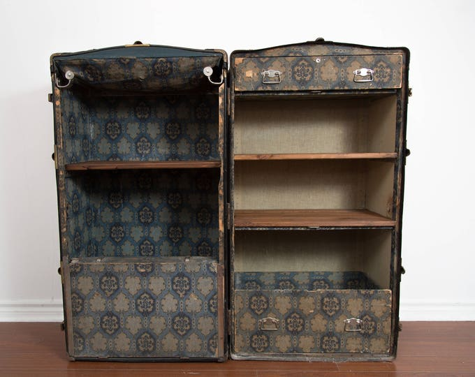 Vintage Steamer Trunk Shelf / Antique Clothing Storage Shelving Unit / Upcycled Repurposed Luggage Case / Steampunk 1940's Decor