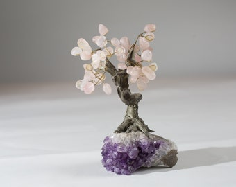 Vintage Stone Tree - Decorative Amethyst and Rose Quartz Handmade Rock Tree - Spiritual Energy Crystals Gem Bonsai Tree