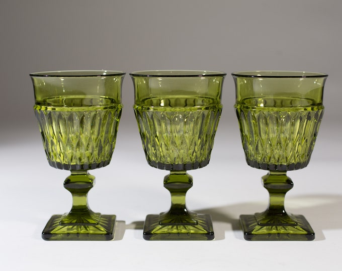 Vintage Green Wine Glasses - Set of 3 Diamond Pattern Cups - Cocktail Stemware Glass Goblets