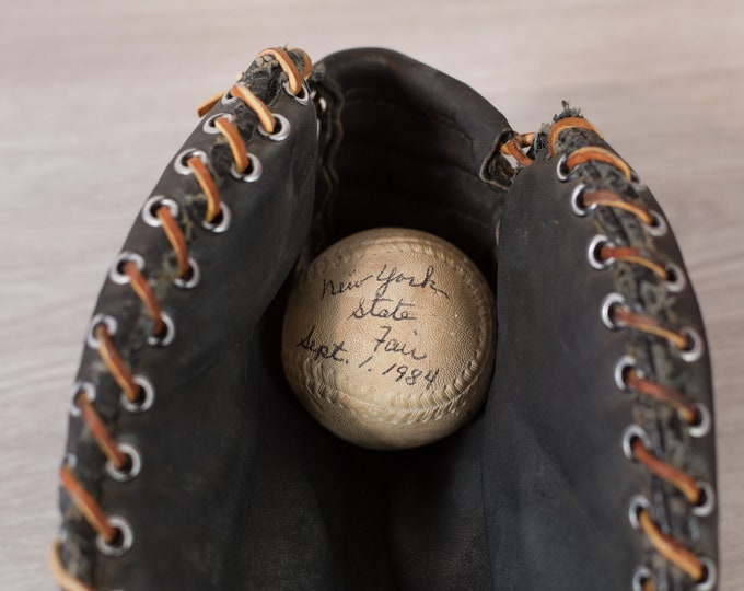 Vintage Baseball Glove - Black Leather Antique Sporting Goods - Weathered Distressed Athletic Decor
