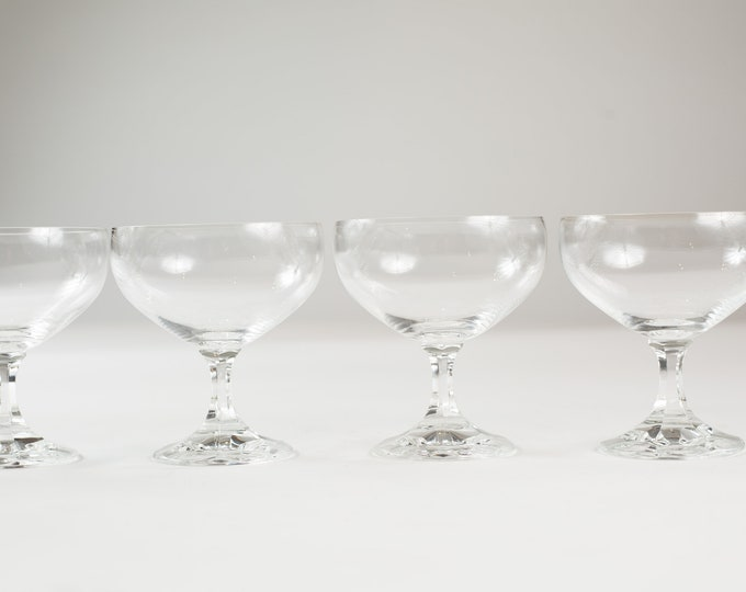 7 Champagne Coupe Crystal Glasses - 8oz Mid Century Parfait Fruit Bowls - Cocktail Glasses - Retro Party New Years Christmas Stemware