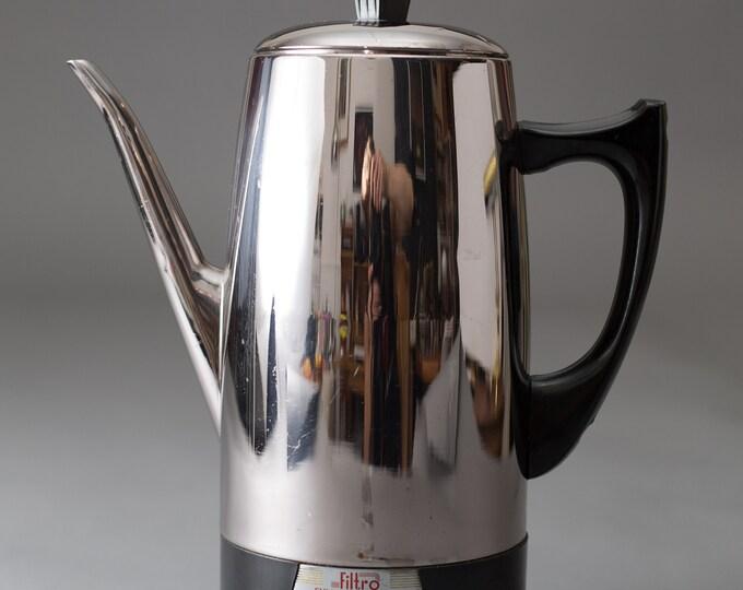 Filtro Coffee Percolator - Metal Electric Filter Coffee Maker- Retro Mid Century Modern Chrome Fully Automatic Coffee Pot