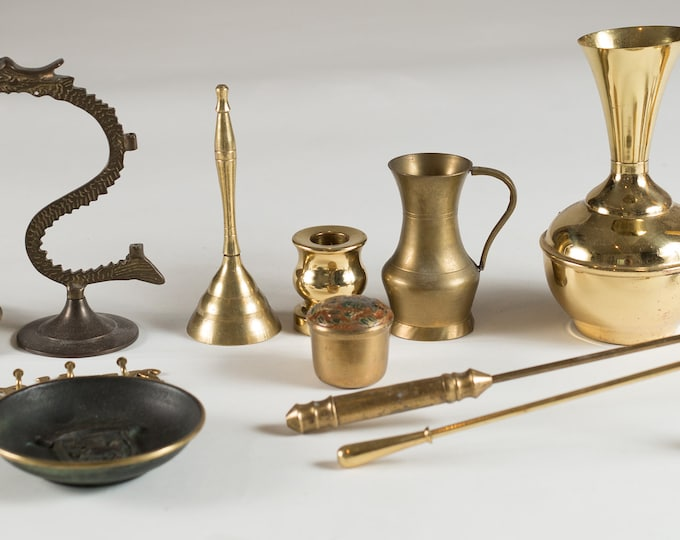 Brass Accent Pieces- Lot of Vintage Brass Candlestick Holders, Key Hangers, Candle Snuffers, Vases, Planter, etc - Christmas Party Table