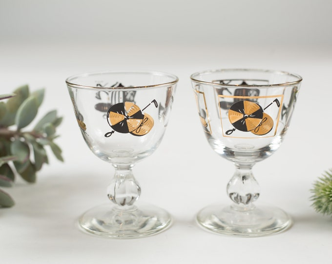 2 Aperitif Glasses - Gold Decal Small Vintage Sipping Glasses with Various types of Mens Hats - Mid-Century Boho Collectible Glassware