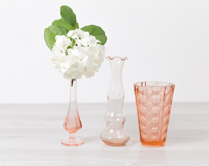 Antique Pink Glass Vases - Vintage Depression Glass Decor - 1930s Home Decor