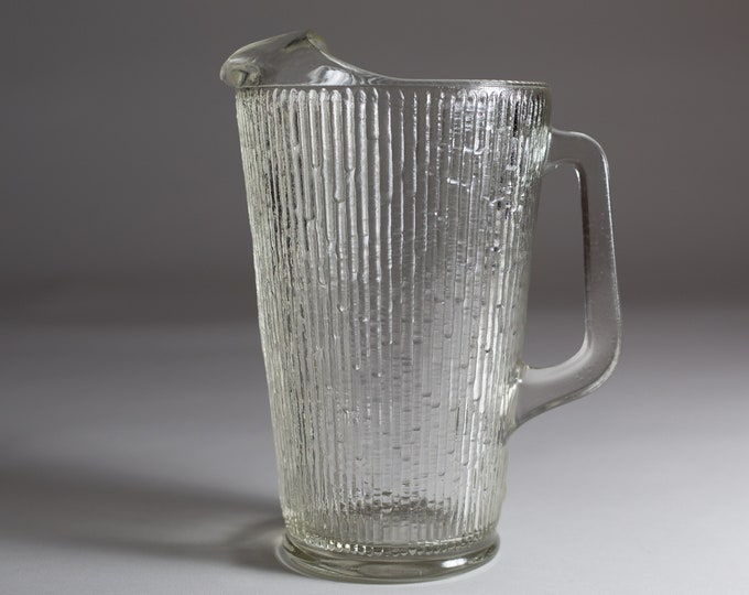 Vintage Icicle Glass Pitcher - Frosty Scandinavian Frosted Finland Cocktail Juice Jug - Mid Century Modern Ice Design Norwegian Glass