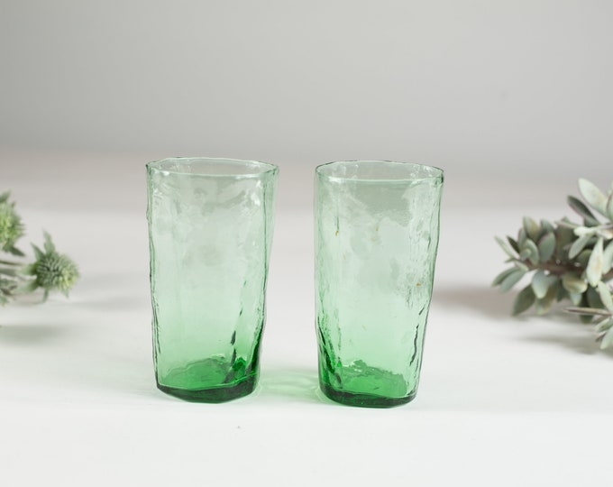 Vintage Green Glass Bar Set - 1960's Mid Century Mod Tumblers - Barware - Cocktail Set
