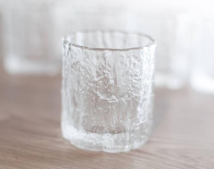 Vintage Icicle Glass / Frosty Scandinavian Finnish Style Frosted Finland Cocktail Glasses / Mid Century Modern Ice Design Norwegian Glass