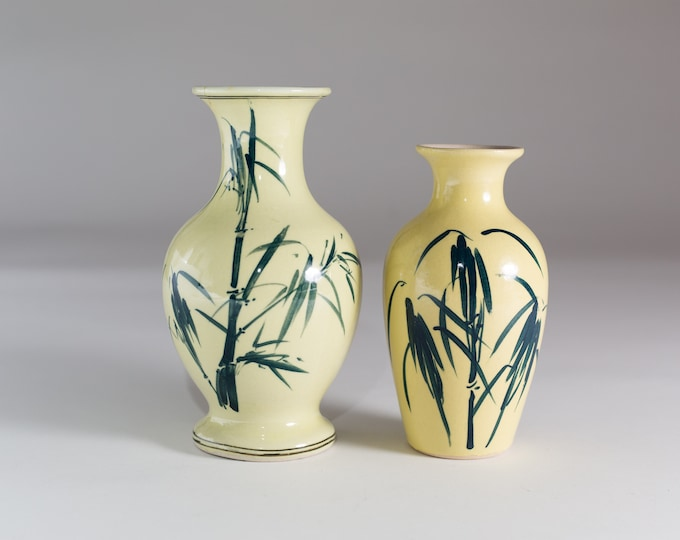 Vintage Bamboo Vases - Ceramic Pale Yellow Bust Vases with Painted Green Bamboo Shoots - Asian Style Pottery Jar with Grass Motif
