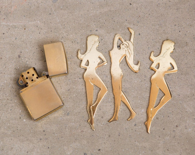 Vintage Lighter and Brass Women - Playboy Memorabilia - Gold Coloured Female Figural Pieces