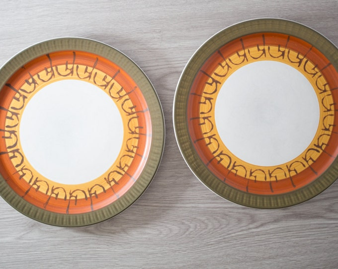 """Vintage Dinner Plates / Pair of Mikasa Casual Ceram Dinner Plates with """"Galaxy"""" Geomtric Pattern / Stoneware / Made in Japan"""