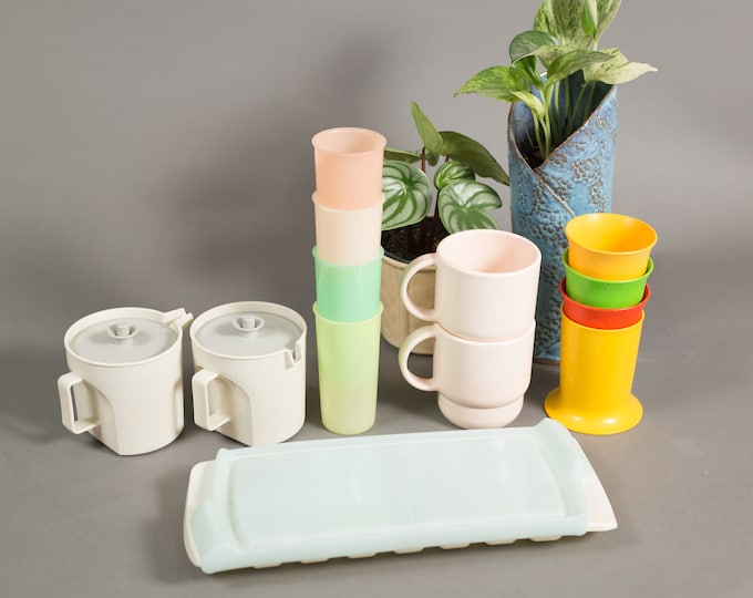 Vintage Tupperware Cups  Lot of Collectible Plastic Cups, Mugs, Ice Cube Tray - Made in Canada - Camping Shatterproof Picnic Colorful Cups