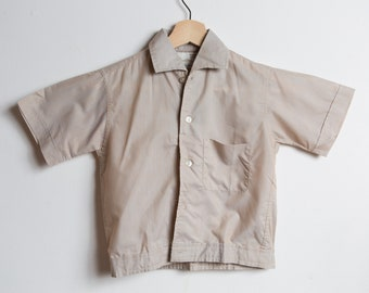 Vintage Kids Shirt - 60's Toddler Short Sleeve Striped Casual Light Brown Shirt - Made by Bruxton