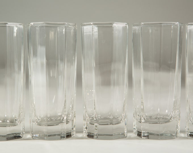 8 Octagon Glasses - 6oz Vintage Set of Skinny Tumblers - Geo Barware Glasses - Retro Geometric Drinking Water Glasses
