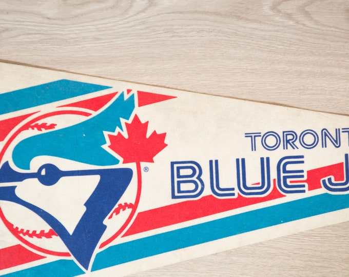 Toronto Blue Jays Pennant - Vintage Felt Souvenir Hanging Triangle Shaped Sports Theme Wall Decor - Boys Room Wall Hanging