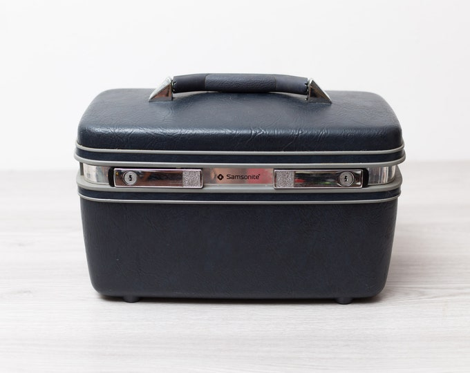 Vintage Makeup Case - 70's Boho Navy Blue  Samsonite Profile 2 Overnight Toiletry Suitcase - Carrying Handle Luggage for Home Storage