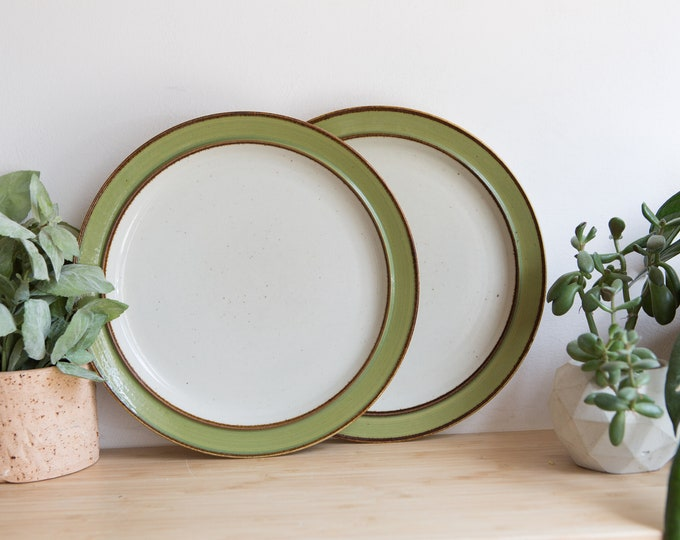 Vintage Dinner Plates / Pair of White and Green Rainbow Stoneware 656 Mango Dinner Plates - Made in Japan