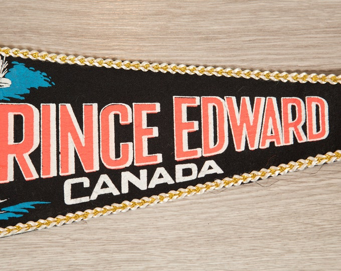 Prince Edward Island Pennant - Vintage Canadian Felt Souvenir Hanging Triangle Shaped Wall Decor - Boys Room Wall Hanging