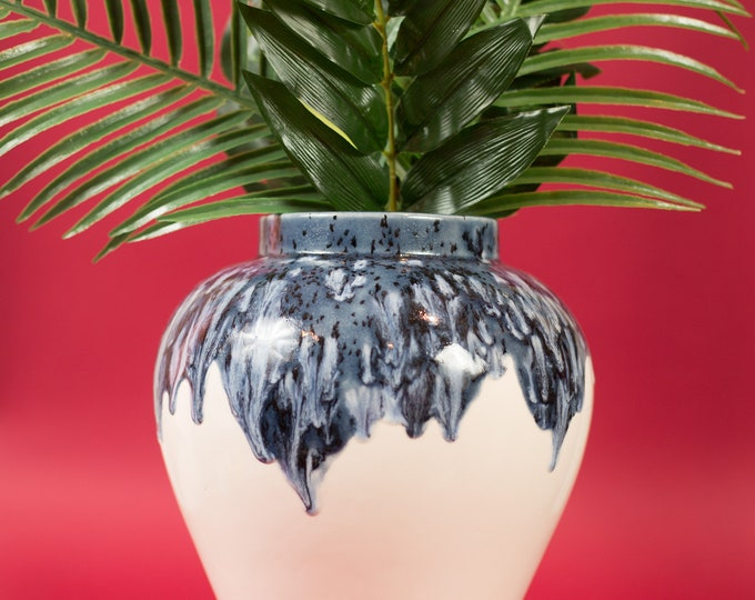 Large Floor Vase - Blue and Off White Drip Glaze Oval Decorative Bubble Vase for Flowers and Leaves Handmade Boho Studio Ceramic Vase