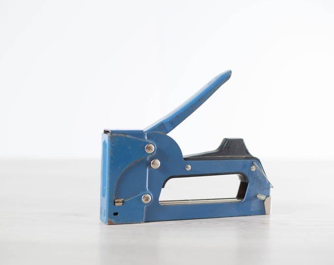 Vintage Heavy Duty Industrial Stapler / Blue retro Stapler / Vintage workshop