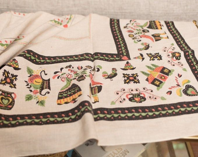 Vintage Dutch Tablecloth - Vintage White and Black Mid Century European Danish Print Country Style Table Linen - Fabric Tapestry