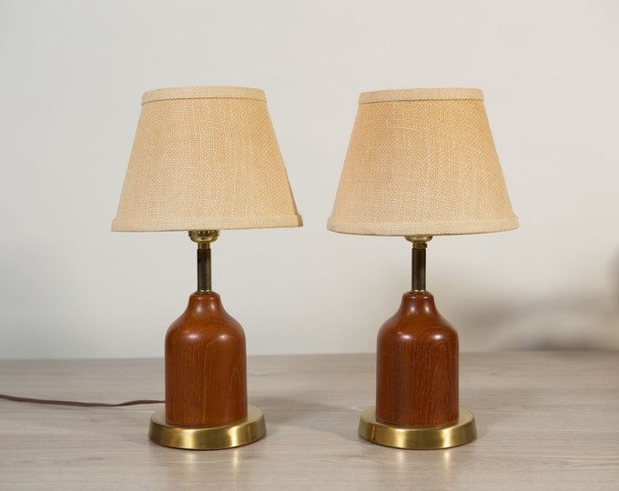 Teak Desk Lamps - Pair of Vintage Mid Century Modern Danish Scandinavian Wood Lamp with Original Shades in a cream colour