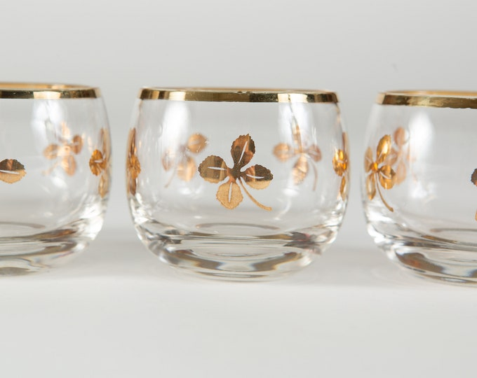 4 Roly Poly Tumblers - 4oz Gold Rim Hand Blown Whisky Cocktail Glasses with Shamrocks Metallic Bands - Hollywood Regency Bohemian Barware