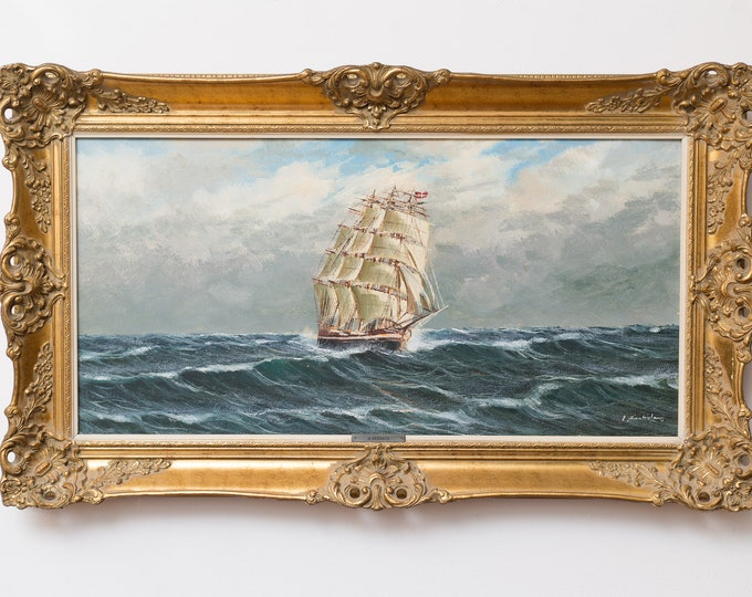 Antique Ship Oil Painting - Signed Georg Seekatz Original Artwork - Nautical Ocean Scene with Flag on Sailing Ship - Signed German Artwork