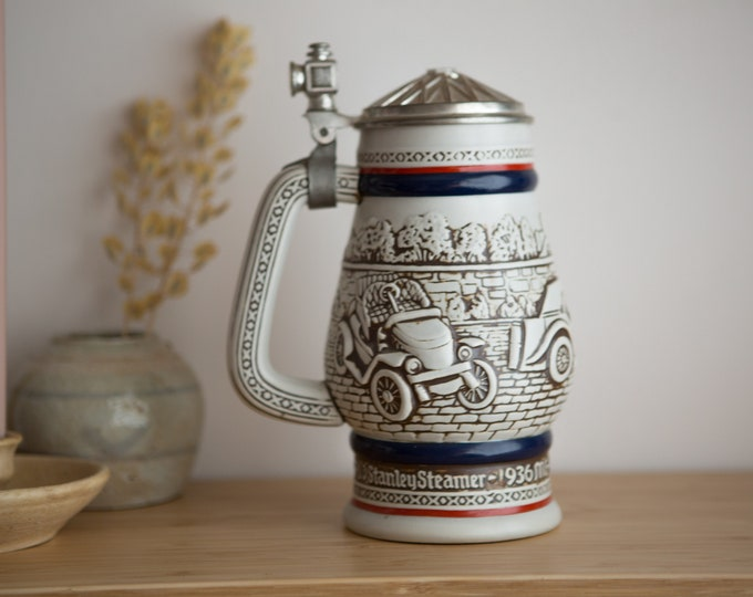 German Beer Stein - Collectible Pewter and Ceramic Collectible Avon Car Beer Mug made in Brazil by Ceramarte - 80's Automobile memorabilia